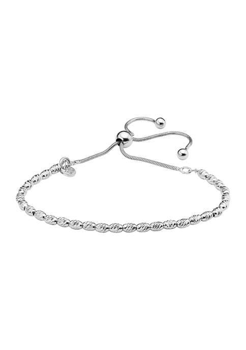 Primavera Italy Sterling Silver Oval Bead Adjustable Bracelet