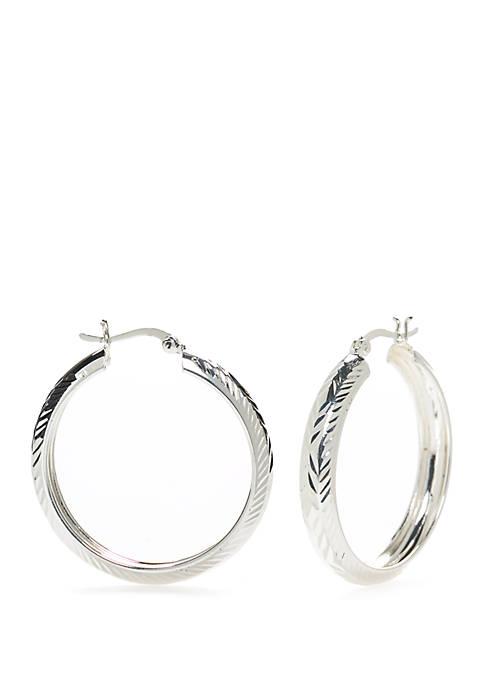 Sterling Silver Pure 100 Diamond Cut Click Top Hoop Earrings