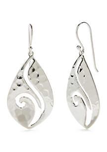 Sterling Silver Hammered Open Swirl Drop Earrings