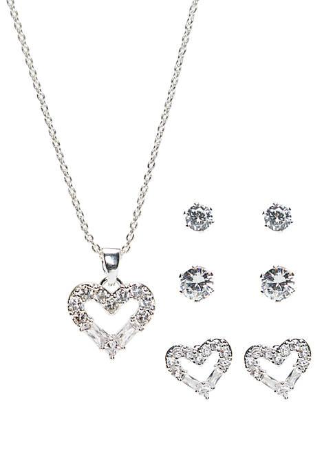 Belk Silverworks Cubic Zirconia Heart Necklace and 3