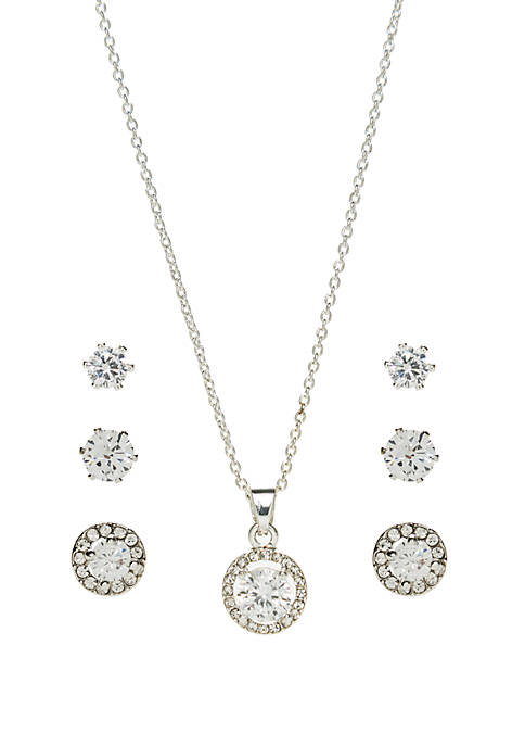 Belk Silverworks Cubic Zirconia Round Pave Necklace and
