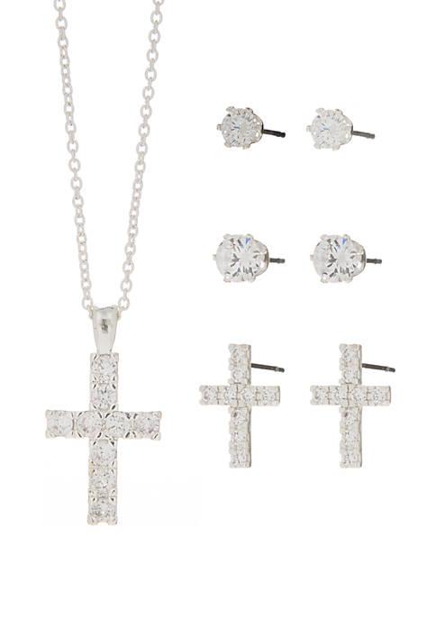 Belk Silverworks Cubic Zirconia Cross Necklace and 3