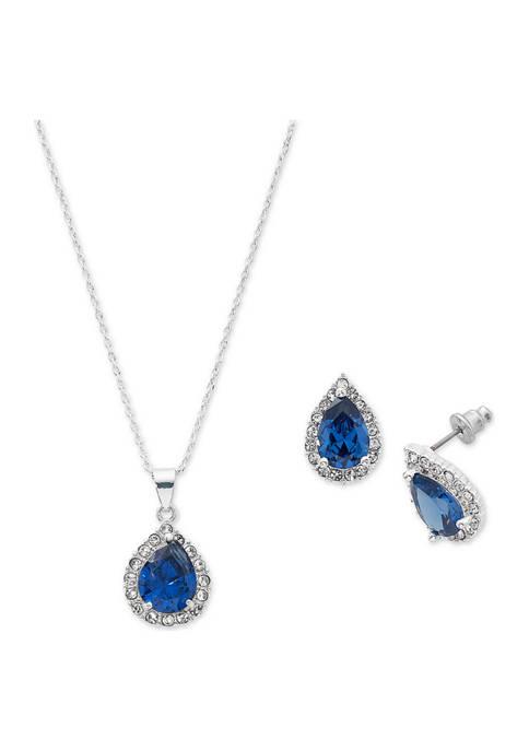 Belk Silverworks Blue Teardrop Cubic Zirconia Necklace and