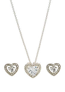 Silver-Plated Cubic Zirconia Heart Necklace and Stud Set