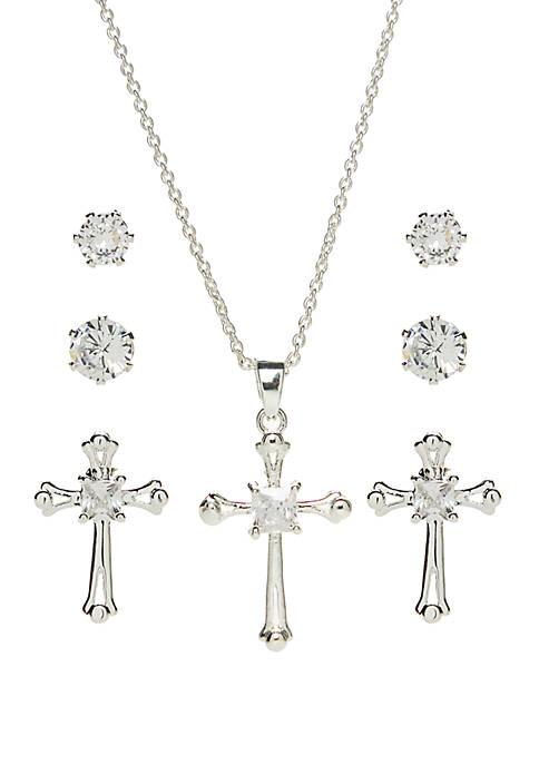 Belk Silverworks Fine Silver Plated Cubic Zirconia Cross