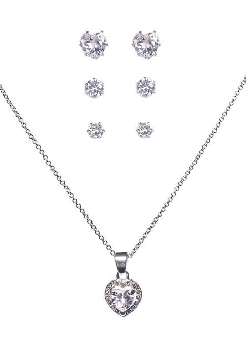 Belk Silverworks Heart Cubic Zirconia Necklace and Earring