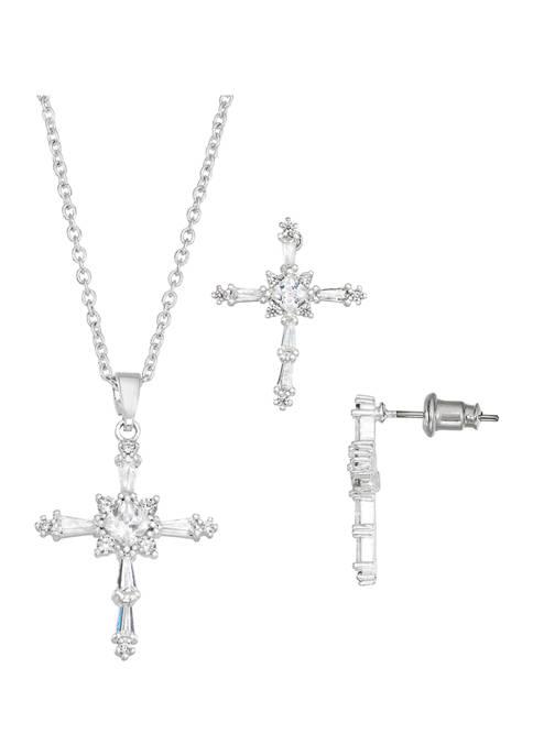 Belk Silverworks Crystal Cubic Zirconia Cross Necklace and