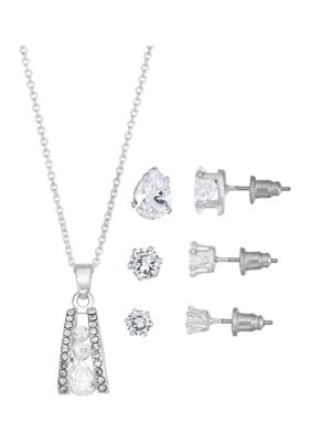 Belk Silverworks Women Open Gradient Cubic Zirconia Necklace And Earring Set