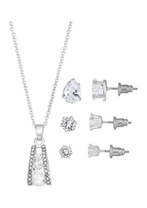 Belk Silverworks Open Gradient Cubic Zirconia Necklace and