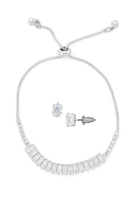 Belk Silverworks Satin Finish Bolo Bracelet and Earring