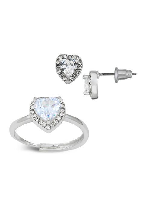 Belk Silverworks Heart Cubic Zirconia Ring and Earring