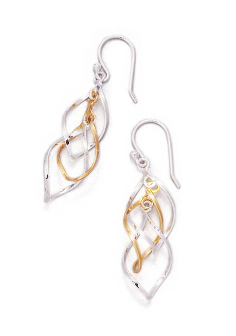 Two Tone Thin Spiral Earrings