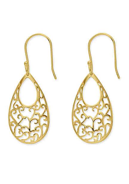 Belk Silverworks 24k Gold Over Sterling Silver Teardrop Filigree Drop Earrings