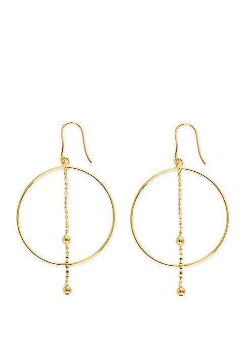Belk Silverworks Gold Told Ring Chain Earrings