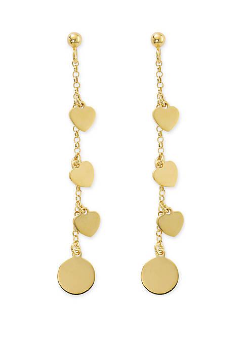 Belk Silverworks Gold Tone Chain Heart Drop Earrings