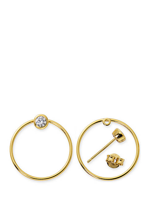 Primavera 24kt Gold Over Sterling Silver Cubic Zirconia Posted Hoop Earrings