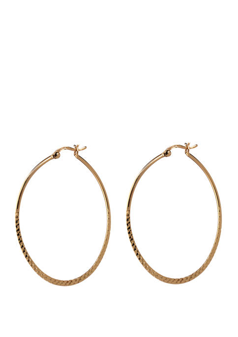 Belk Silverworks 50 Millimeter Oval Textured Hoop Earrings