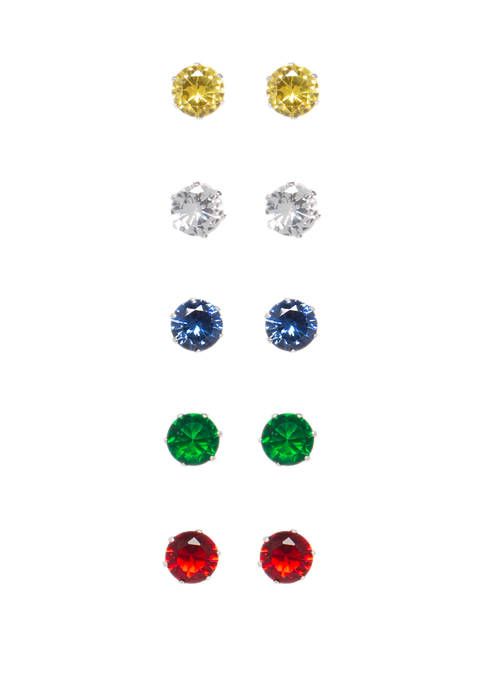 Belk Silverworks Set of 5 Rainbow Bright Stud