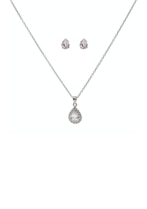 Sterling Silver Lab Created Crystal Cubic Zirconia Teardrop Necklace and Earrings Set