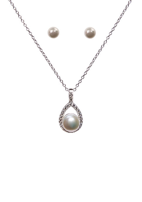 Sterling Silver Open Teardrop and Lab Created Pearl  and Cubic Zirconia Necklace and Earring Set
