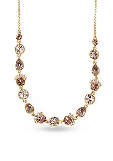 Givenchy Gold Tone Stone Frontal Necklace