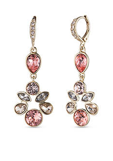 Givenchy Gold Tone Cluster Stone Drop Earrings