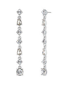 Givenchy Silver Tone Stone Linear Earrings
