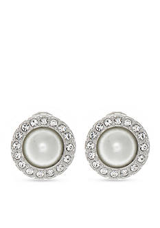Givenchy Silver Tone Pearl Button Clip Earrings