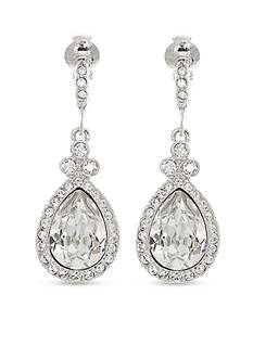 Givenchy Silver Tone Stone Drop Clip Earrings