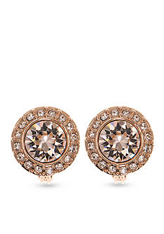 Givenchy Rose Gold Tone Pave Stone Button Clip Earrings