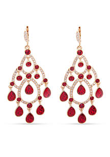 Gold Tone Red Chandelier Earrings