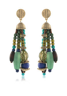 Lauren Ralph Lauren Gold-Tone Beaded Tassel Pierced Earrings