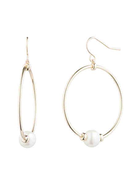 Lauren Ralph Gold Plated Gl Pearl Hoop Earrings