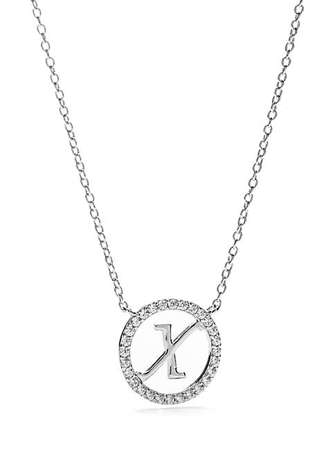 Sterling Silver Polished Circle Initial Pendant Necklace
