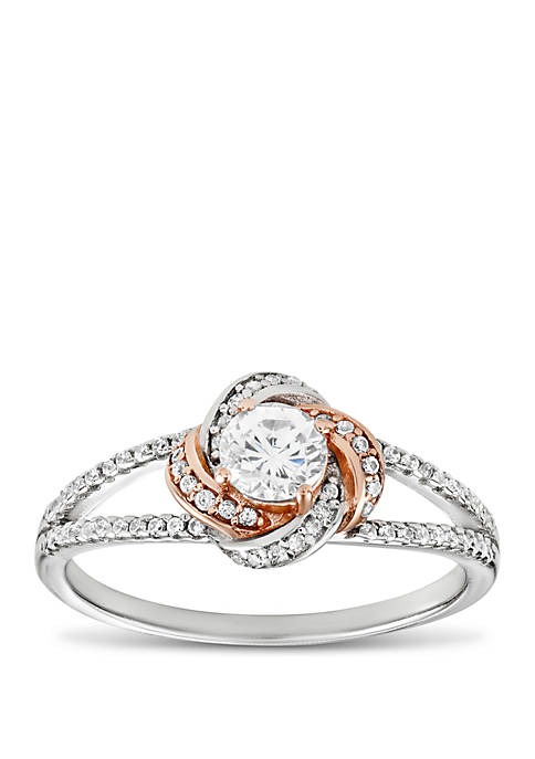 Belk Silverworks 2-Tone Pave Cubic Zirconia Love Knot