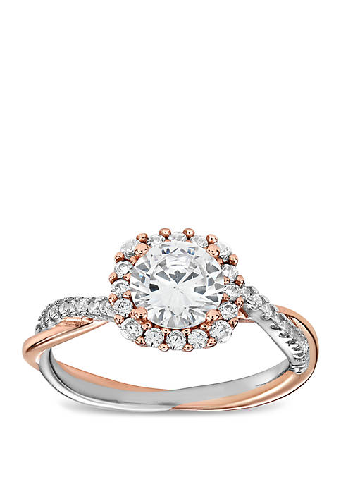 2-Tone Pave Cubic Zirconia Ring