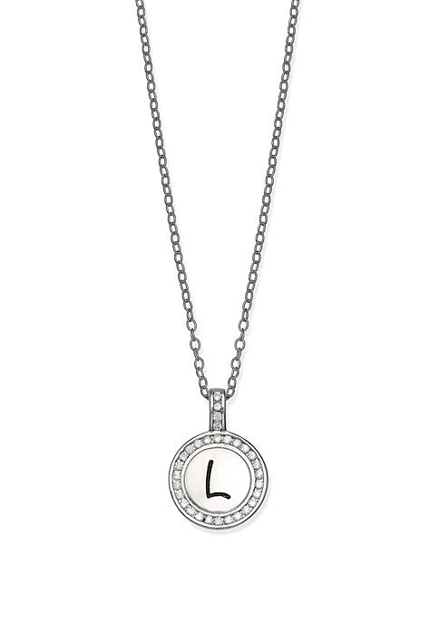 Belk Silverworks Pave Cubic Zirconia Initial Pendant Necklace