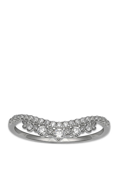 Pave Cubic Zirconia Curve Ring