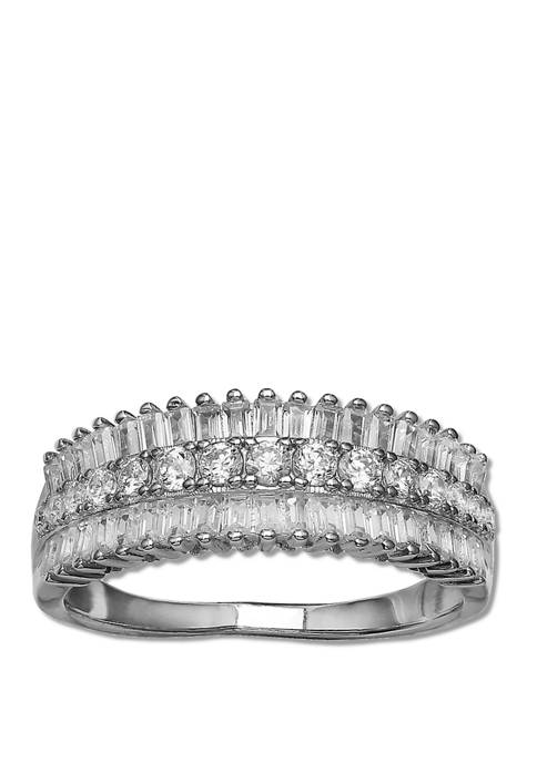 Triple Row Baguette Graduated Round Cubic Zirconia Band
