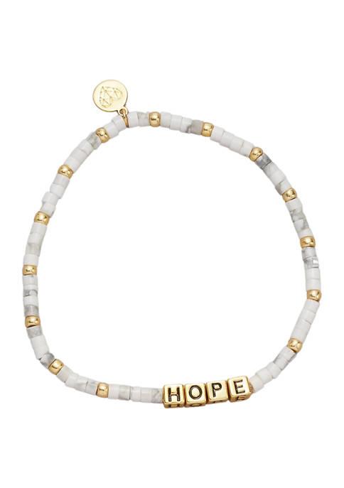 Gold Tone Howlite Hope Bracelet