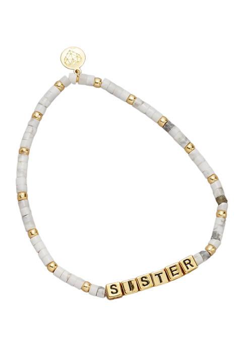 Gold Tone Howlite Sister Bracelet