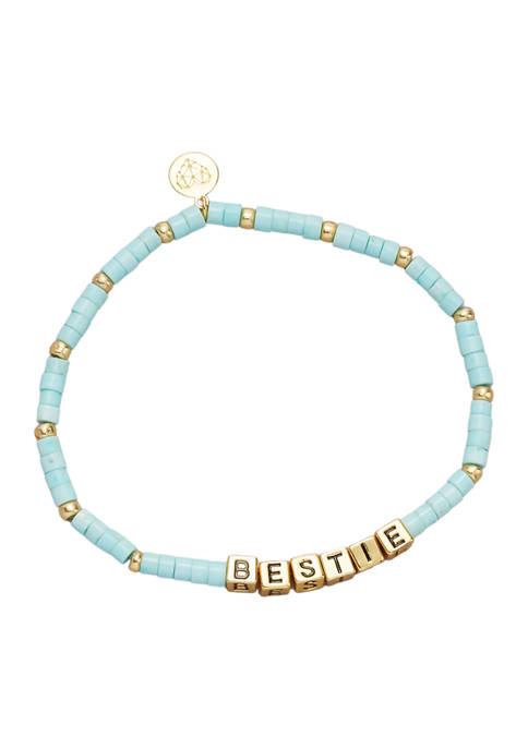 Gold Tone Turquoise Gemstone Bestie Bracelet
