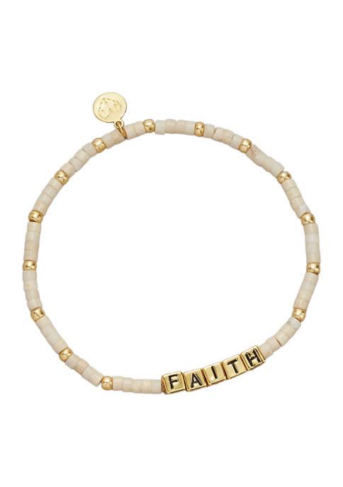Gold Tone Cream Gemstone Faith  Bracelet