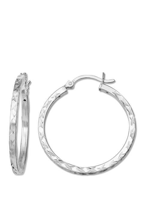 30 mm x 2 mm Squared Hoop Earrings