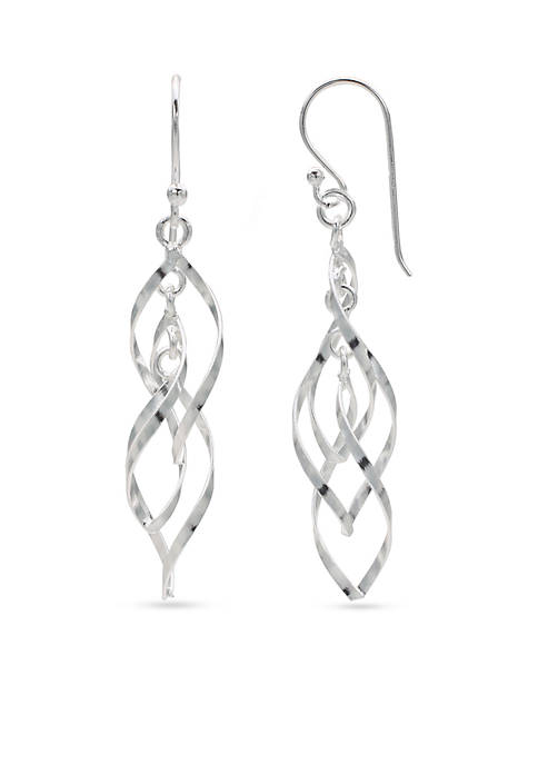 Belk Silverworks Simply Sterling Triple Twisted Drop Earrings