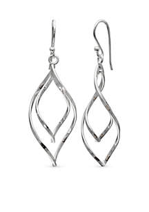 Simply Sterling Silver Double Twist Teardrop Drop Earrings