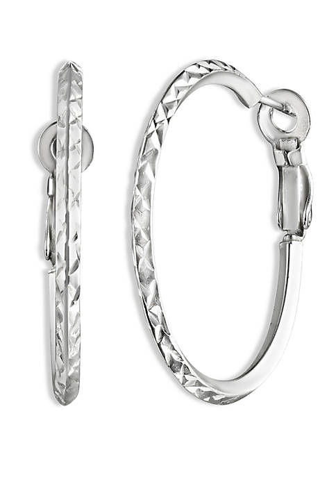 Belk Silverworks Polished Diamond Cut Hoop Earrings