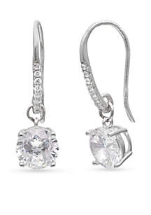 Simply Sterling Round Cubic Zirconia Drop Earrings