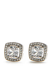 Sterling Silver Cushion Cubic Zirconia Halo Stud Earrings