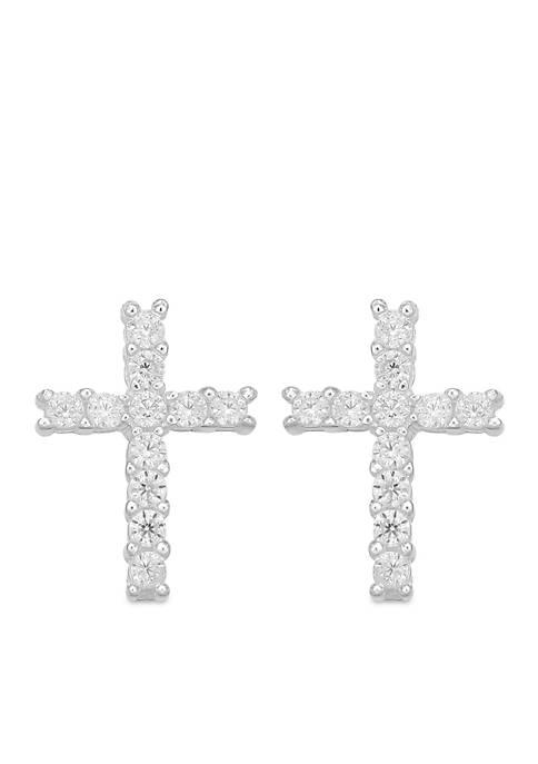 Belk Silverworks Sterling Silver Cross Stud Earrings